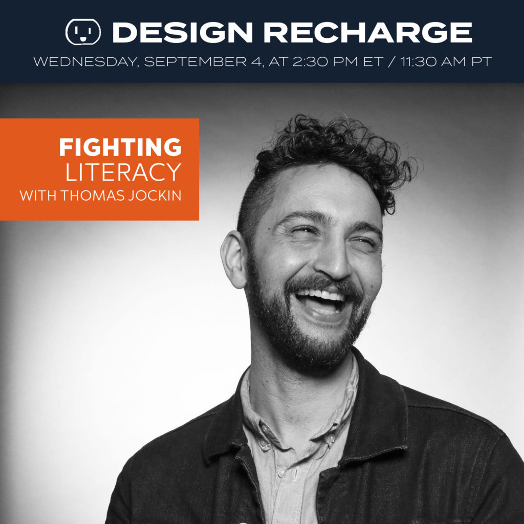 THE DESIGN RECHARGE SHOW: Thomas Jockin // Fighting Literacy Episode 312. Airs September 4, 2019. at 2:30pm ET / 11:30am PT. . This week we have a returning guest, Thomas Jockin. Thomas is an educator, a lover of type, and a practitioner (he creates fonts). He has been working on a very interesting project that is helping fight literacy in a new way. . He was hired to create a variable font which allows each person to set the spacing of the words. Then he got Google to fund the project. We will talk about how he got this project and what they are hoping to accomplish by using variable type to teach people to read. . Join me LIVE on Wednesday, Sept 4 at 2:30 pm ET / 11:30 am PT PT. Go to https://bit.ly/dr-list to SIGN UP to get the link (link in profile), delivered each week directly to your inbox. . If you already get the weekly newsletter no need to sign up you will get the link in your inbox 30 min before the show. . Follow Thomas and this project at: https://fonts.google.com/?query=lexend&sort=alpha https://thomasjockin.github.io/lexend https://www.lexend.com . https://www.thomasjockin.com https://www.typethursday.org . Episode and show notes will be available at https://www.rechargingyou.com/312 . #typedesigner #designer #typographer #googlefonts #literacy #fightingliteracy #podcast #typedesign #learningtoread #fontdesign #designrecharge #designpodcast #creativepodcast #creativecareer